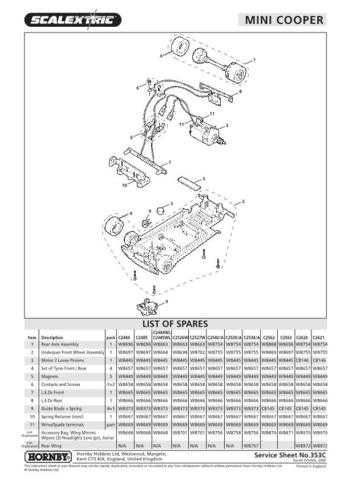 Scalextrix No.353C Mini Cooper Service Sheets by download Mauritron #206473