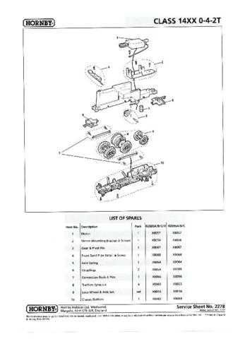 Hornby No.227B Class 14XX 0-4-2T Service Sheets by download Mauritron #206949