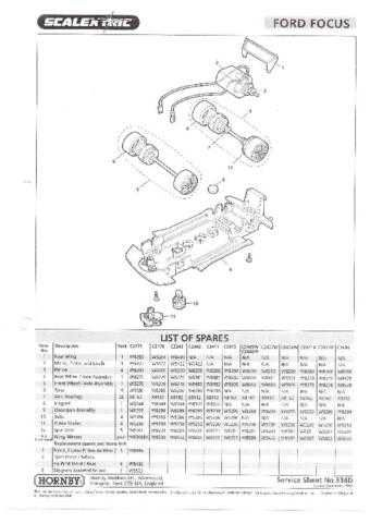 Scalextrix No.334D Ford Focus Service Sheets by download Mauritron #206424
