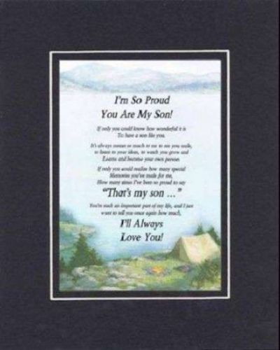 Poem for For Son - I'm So Proud You Are My Son 11x14 BlkOnBlk Double Matting