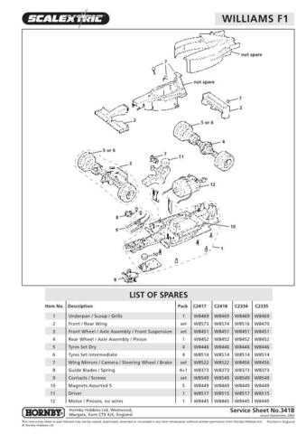 Scalextrix No.341B Williams F1 2002 Service Sheets by download Mauritron #20644