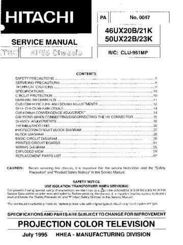 Hitachi 50UX23K Service Manual Schematics by download Mauritron #205844