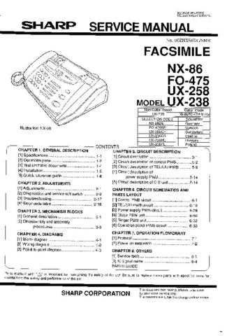 Sharp NX86-FO475-UX238-258 (1) Service Manual by download Mauritron #210153