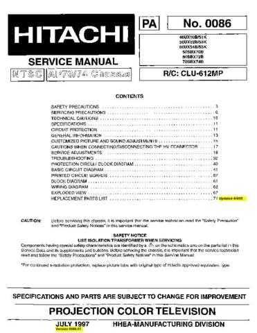 Hitachi 50UX53K Service Manual Schematics by download Mauritron #205849