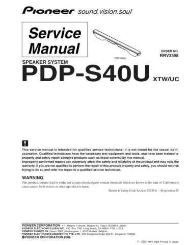 Pioneer PDP-S40 Manual by download Mauritron #227678
