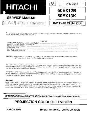 Hitachi 50EX12B Service Manual Schematics by download Mauritron #205809
