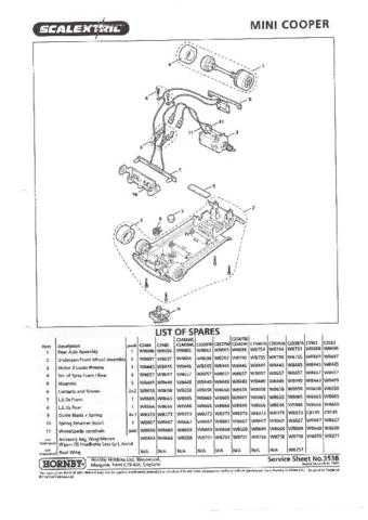 Scalextrix No.353 Mini Cooper Service Sheets by download Mauritron #206472