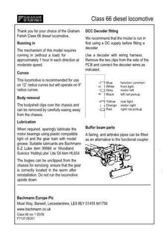 Graham Farish Class 66 DCC Fitting Information by download Mauritron #206145