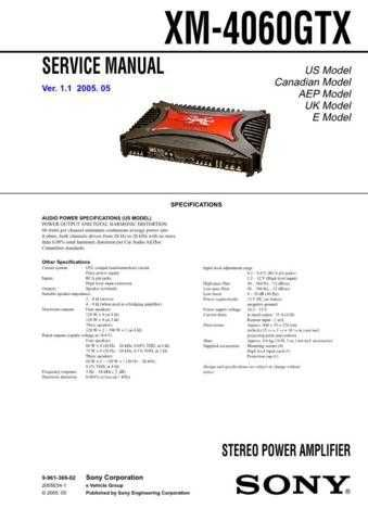 Sony XM-4060GTX Service Manual. by download Mauritron #245990
