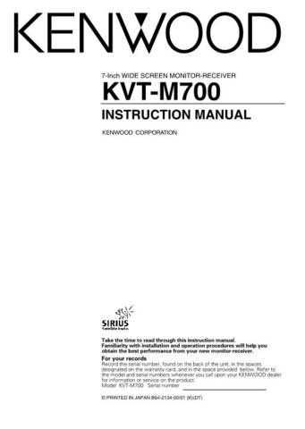 Kenwood KVT-M700 Operating Guide by download Mauritron #219633