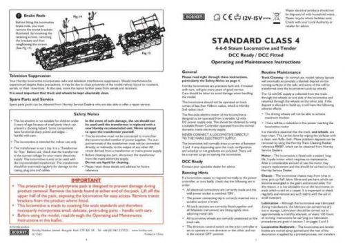 Hornby 4-6-0 Standard Class 4 Maintenance Sheets by download Mauritron #206680