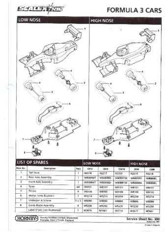 Scalextrix No.300 Formula 3 Cars Service Sheets by download Mauritron #206351