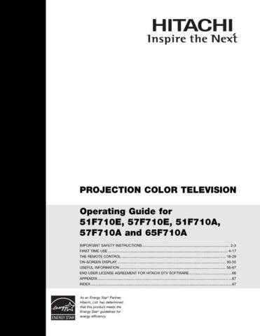 Hitachi 51F710A Manual by download Mauritron #224248