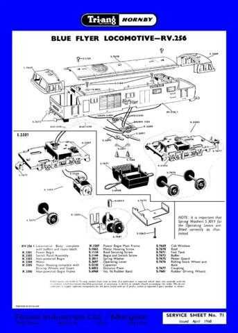 Triang Tri-ang No.071 Blue Flyer Loco RV256 Service Sheets by download Mauritro