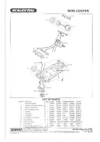 Scalextrix No.377B Mini Cooper Service Sheets by download Mauritron #206518
