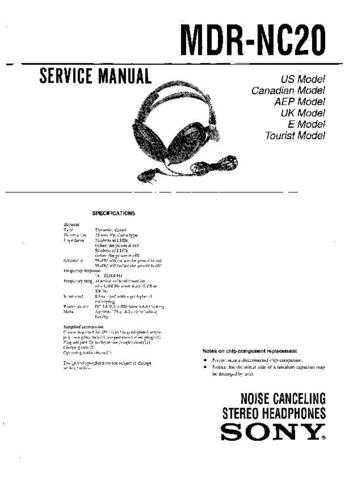 Sony MDR-NC20 Service Manual. by download Mauritron #242603