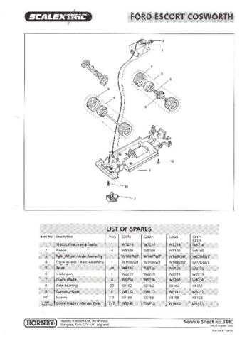 Scalextrix No.314C Ford Escort Cosworth Service Sheets by download Mauritron #2