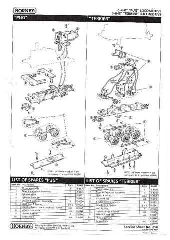 Hornby No.214 Pug And Terrier Service Sheets by download Mauritron #206918