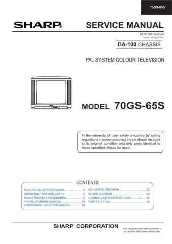Sharp 70GS65S (1) Service Manual by download Mauritron #207956