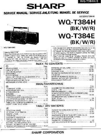 Sharp. WQT384H-E_SM_GB-DE-FR Service Manual by download Mauritron #211925