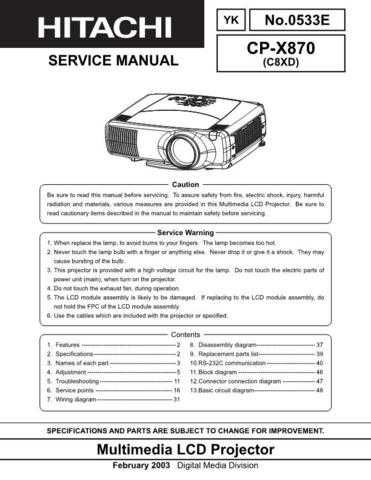 Hitachi CPX870 Service Manual Schematics by download Mauritron #205927