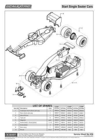 Scalextrix No.458 Start Single Seater Service Sheets by download Mauritron #206