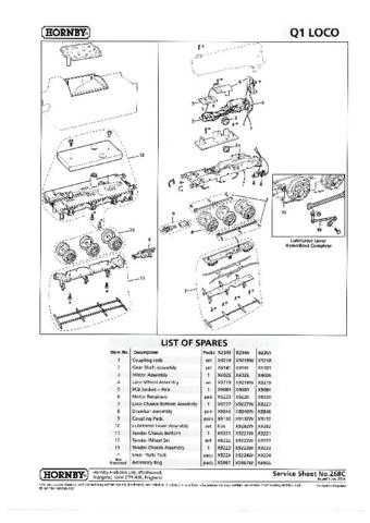 Hornby No.268C Class Q1 Service Sheets by download Mauritron #207033