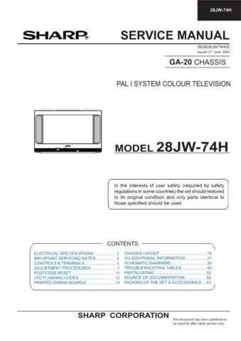 Sharp 28JW74H (1) Service Manual by download Mauritron #207565