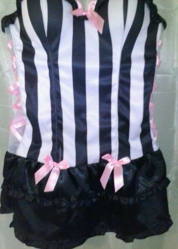 Sexy Black and White Referee Costume Polyester and Spandex and Bows NWT!!!