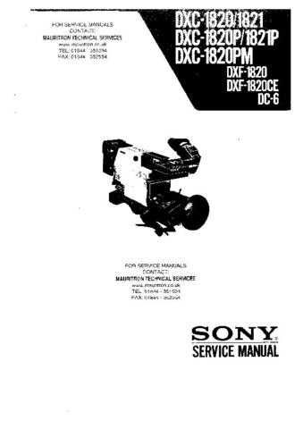SONY DXF1820CE CAMCORDER SERVICE MANUAL Technical Info by download #104904