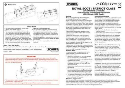 Hornby Royal Scot Patriot Class Maintenance Sheets by download Mauritron #20720