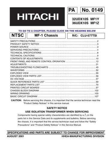 Hitachi 36UDX10S Service Manual by download Mauritron #207226