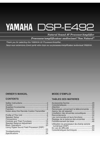 Yamaha DSP-AX3200 E1 Operating Guide by download Mauritron #247594