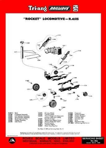 Triang Tri-ang No.040A Rocket R651S Service Sheets by download Mauritron #20624