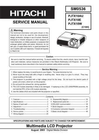Hitachi PJTX10W Service Manual by download Mauritron #263802