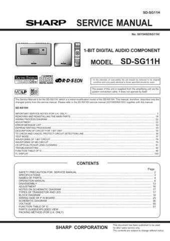Sharp SDSG11H (1) Service Manual by download Mauritron #210444