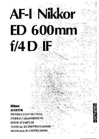 NIKON Nikkor ED 600mm Instruction Manual by download Mauritron #266142