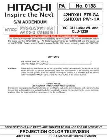 Hitachi 55HDX61A Service Manual by download Mauritron #263098