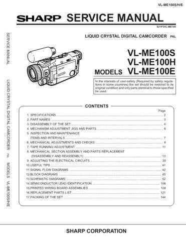 Sharp VLME-100S Service Manual by download Mauritron #231575