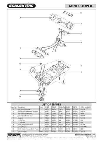 Scalextrix No.377C Mini Cooper Service Sheets by download Mauritron #206519