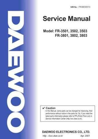 Daewoo FR38030013(r) Manual by download Mauritron #226049