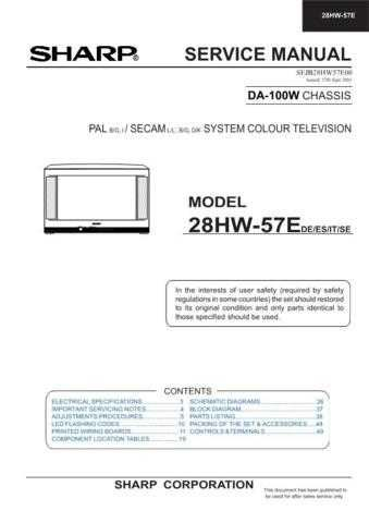 Sharp 28HW57E (1) Service Manual by download Mauritron #207539