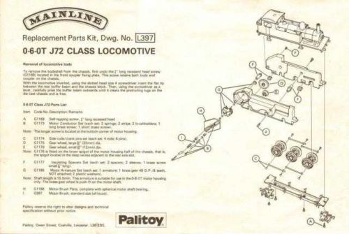Mainline L397 0-6-0T J72 Class Service Sheets by download Mauritron #206169