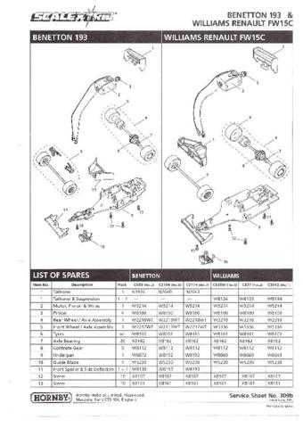 Scalextrix No.309B Benetton 193 and Williams Renault FW15C Service Sheets by do