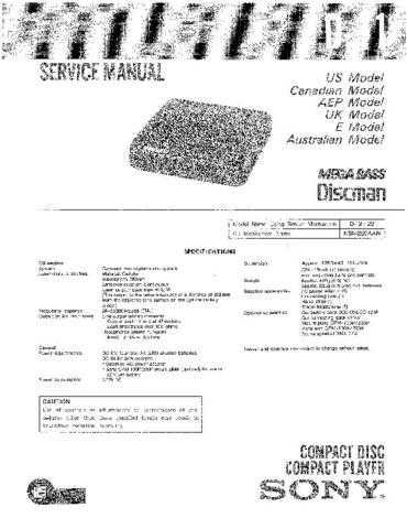 Sony D-11 Service Information by download Mauritron #237705
