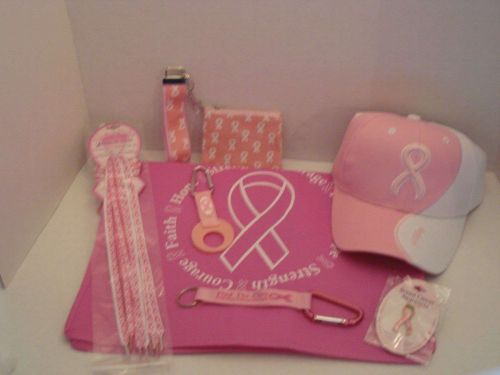 Breast Cancer Awareness Ribbon Hat Shoelaces Pin Bottle Holder Wristlet Laynard
