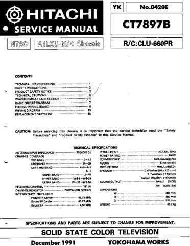 Hitachi CT7897B Service Manual Schematics by download Mauritron #205945