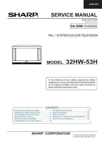 Sharp 32HW53H (1) Service Manual by download Mauritron #207636