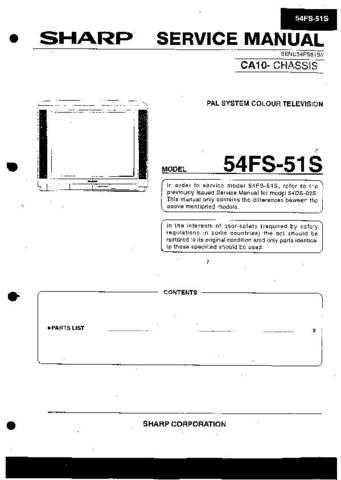 Sharp 54FS51S SM SUPPLEMENT GB Service Manual by download Mauritron #207844