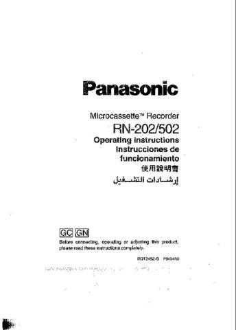 Panasonic RN202 Operating Instruction Book by download Mauritron #236325